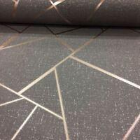 Cuarzo Fractal Papel Pintado Geométrico - Fino Decoración - Cobre / Carbón
