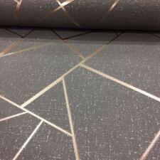 Quarz Fraktale Geometrische Tapeten - Feine Dekor - Kupfer/Dunkelgrau FD42283