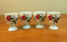 4 Vintage Antique Japan Porcelain China Egg Cups Rosebud Floral Gold Rim