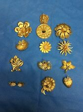 VTG Lot Of Gold Tone Costume Pins Brooches. Coro, Trifari, Benedict, Panetta,
