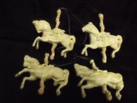 "(4) VINTAGE 4"" RESIN CAROUSEL HORSE CHRISTMAS TREE ORNAMENTS"