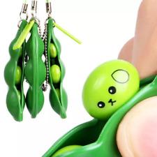 New Creative Extrusion Pea Bean Edamame Stress Relieve Key chain Cute Fun Gift