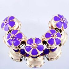 Hot 5Pcs Yellow Gold Filled Charms Enamel Beads Fit European Bracelet Women