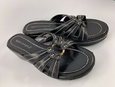 "Women's Size 9 Black ""Sonya"" Apostrophe Wedge Sandals"
