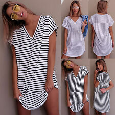 Womens Striped Short Sleeve V Neck T-Shirt Ladies Casual Loose Tops Blouse Dress