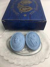 Vintage Bicentennial Soap Dish Set Original Box Avon George - Martha Blue Soap