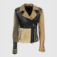 New Woman Philip Plein Golden Studded Black Biker Cowhide Leather Jacket