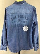 Diesel Boys The Rebels Multi-Patch Blue Button-Down Shirt Mens Long Sleeve L XL