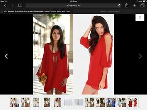 Sexy Women's Red Summer Casual Party Evening Cocktail Short Mini Dress Plus BNWT