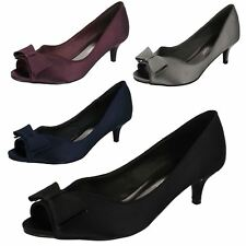 Ladies Black / Purple Satin Anne Michelle Kitten Heel Shoes Wedding/Party F10308