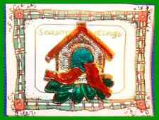 Christmas Pin #0144 Red Cardinals Birdhouse Goldtone-Enamel Holiday Brooch Rare