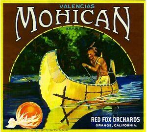 Orange County Red Fox Mohican Indian Orange Citrus Fruit Crate Label Art Print