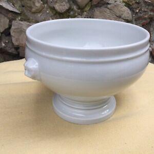 FrenchSoup Tureen Bowl White Lion's Head Pillivuyt Porcelain Vintage Iron Stone
