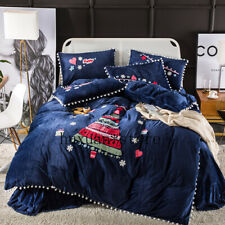 Thick Fleece Warm Christmas Bedding Set Flannel Cute Ball Embroidery Duvet Cover