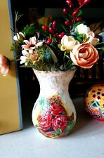Handmade handcrafted decoupage vase gift idea birthday