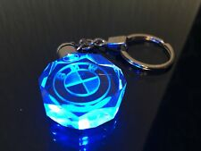 BMW LED KEY RING KEYCHAIN GLASS CRYSTAL BLUE LED ( FREE DELIVERY )