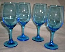 "Set of 4 8"" Tall Skyy Blue Wine Glasses Holds 10 Ounces Comfortably"