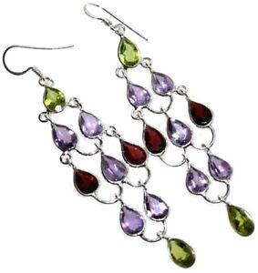"Chandelier Earrings Multi colour Gemstones 3"" Long Sterling Silver 3 Birthstones"