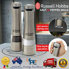 Salt and Pepper Mills Electric Grinders Silver Battery Operated Kitchen Tool Set