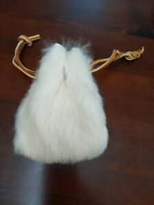 Vintage White Rabbit Fur Rustic Handmade Coin Leather Drawstring Pouch Sack