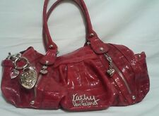 Kathy Van Zeeland Red Faux Croc Handbag Purse with Silver Charms & Accents