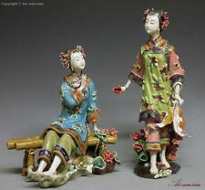 Oriental Chinese Ceramic / Porcelain Dolls Figurine - Fishing Beauty Sister PAIR