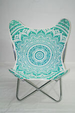 Green Mandala Canvas Cotton Butterfly Chair Metal Chair Steel Plated Chair Frame