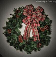 Country Christmas Wreath Bow, Farmhouse plaid wreath bow