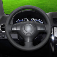 black leather black car hand-sewn steering wheel cover for Suzuki Swift Vitara