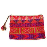 Vtg Womens Pink Red Woven Embroidered Clutch Pouch Made In India Boho Chic