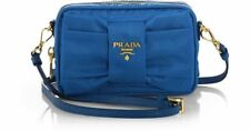 100% AUTH NEW PRADA BLUE NYLON BOW CAMERA TESSUTO CROSSBODY HANDBAG/PURSE/BAG
