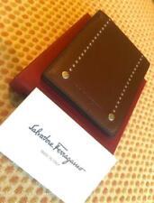 Salvatore Ferragamo Men's brown leather bifold wallet with silver studs