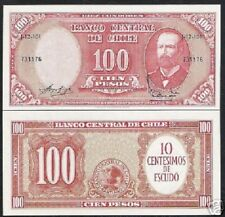 CHILE 10 Cent On 100 Pesos P127 1960 PRAT UNC EAGLE OVER PRINT LATINO BANK NOTE