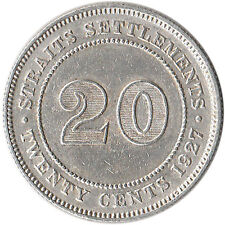 1927 Straits Settlements (British) 20 Cents Silver Coin KM#30b