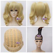 Blonde Anime BATMAN Harley Quinn Cosplay Wig 2Ponytail Hitzefest Party Halloween