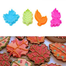 4pcs Leaf Shape Fondant Cake Cutter Plunger Cookie Mold Sugarcraft Decor Mould