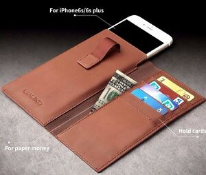 Genuine Leather Soft Wallet Sleeve Case for iPhone 6/6S Plus Perfect Gift QST5