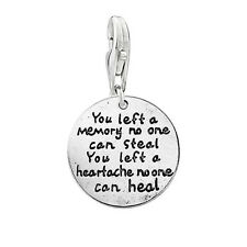 """SEXY SPARKLES Memorial Charm """"You left a memory no one can steal you left a hear"""