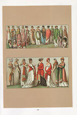 VINTAGE FASHION COSTUME PRINT ~ FRANCE 19th CENTURY LADIES SHAWL (1802-1814)