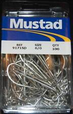 100 Mustad 91715D-60 Size 6/0 Saltwater 90 Degree Jig Hooks Fits Do It Molds