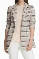 DKNY Womens Blazer Jacket Pink Size 8 Striped Jacquard Open-Front $139 030