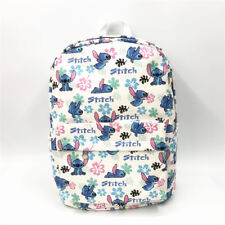 "disney white stitch 15"" canvas backpack shoulder bag school bags anime unisex"