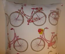 """CUSHION COVER PILLOW CASE 16"""" VINTAGE FRENCH BICYCLE BIKE RED SHABBY CHIC QUIRKY"""