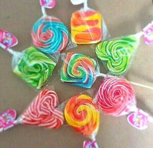 LOLLIPOPS WHEEL RAINBOW x 3 LOLLIES CAKE TOPPERS PARTY BAGS HALAL TEACHERS SWEET