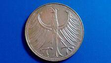 Moneda de plata alemania 5 marcos de plata-año 1964-D.