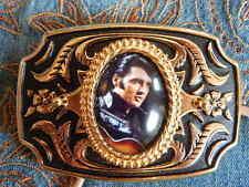 Nuevo mano hecha a mano en Reino Unido ELVIS PRESLEY Hebilla De Cinturón Dorado/Negro Metal, Western