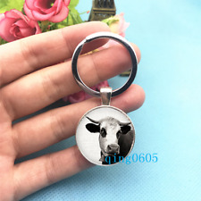 Cow Art Photo Tibet Silver Keychains Rings Glass Cabochon Key chain -90