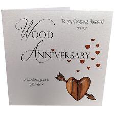 5th Wood Anniversary Card Husband Crystals Envelope Luxury Handmade 148mm sq