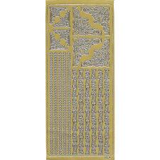Konturensticker Linien + Ecken, gold, Ziersticker, Reliefsticker, Peel Off's