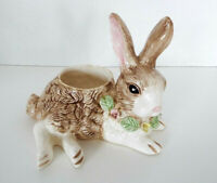 Vintage Ceramic Rabbit Planter Holland Floral 1994 Bunny Vase 9 x 7 Porcelain